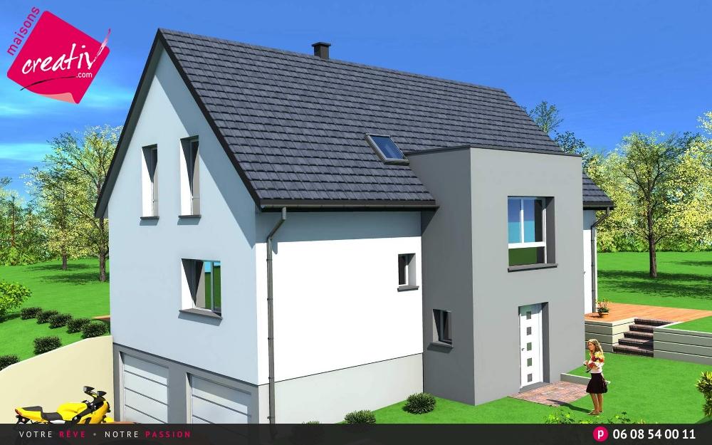 Maison tage entr e demi niveau de maisons creativ camille for Maison demi niveau toit plat