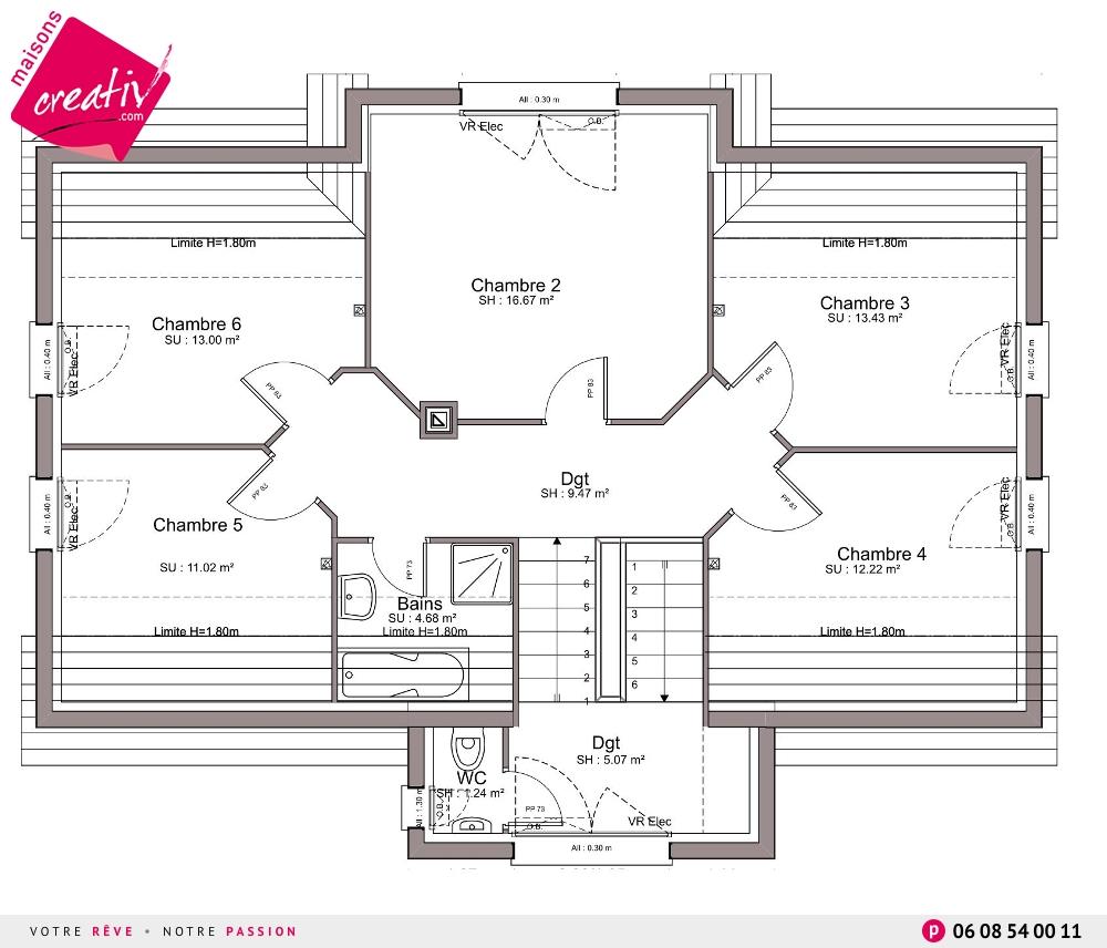 maison à étage entrée à demi-niveau de maisons creativ camille - Plan Maison Demi Niveau 4 Chambres