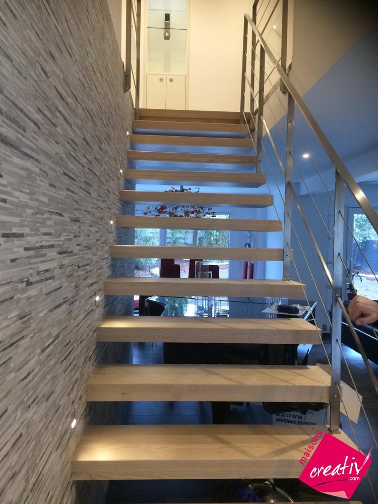 gardes corps escalier suspendu bois et inox les tapes de construction. Black Bedroom Furniture Sets. Home Design Ideas