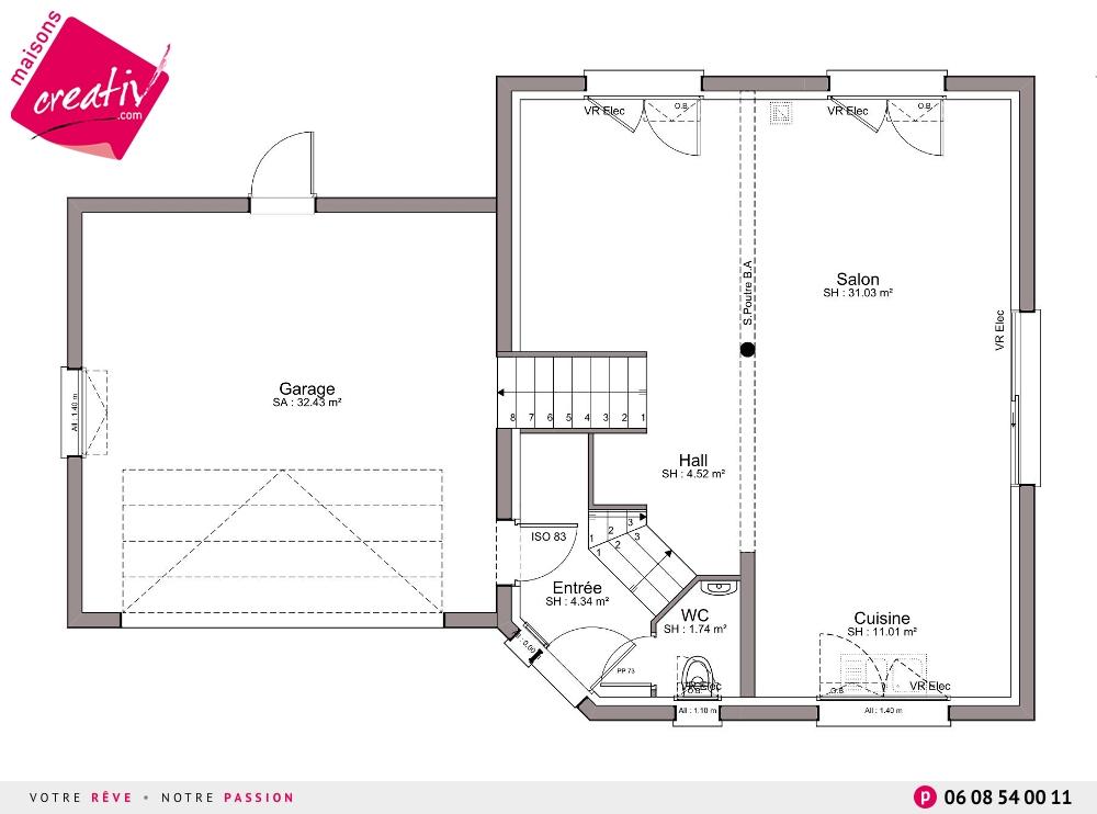 Plan maison garage accole for Plan maison garage a droite