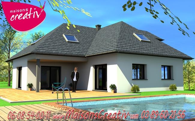 Maison plain-pied en Alsace Manuella : les plans Maisons Creativ