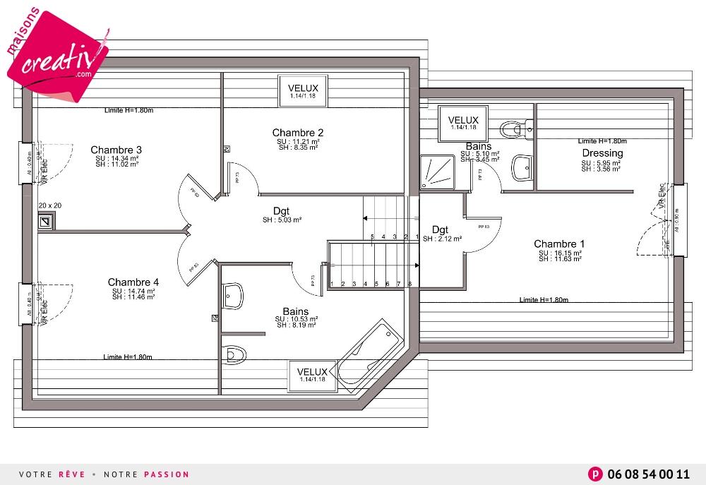 Nos maisons avec garage attenant de moins de 140m en for Garage attenant